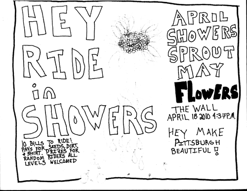 Hey Ride In Showers flyer